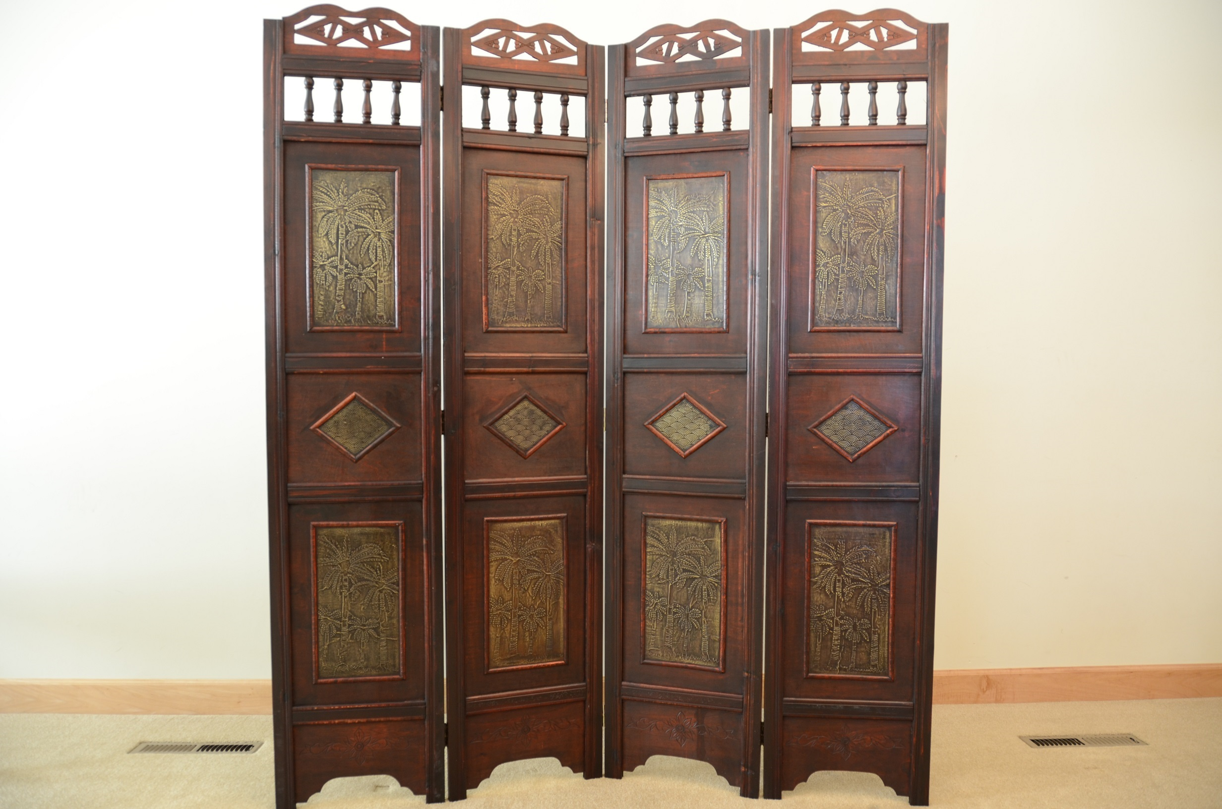 palm tree room divider screen 4 panel wooden frame | ebay