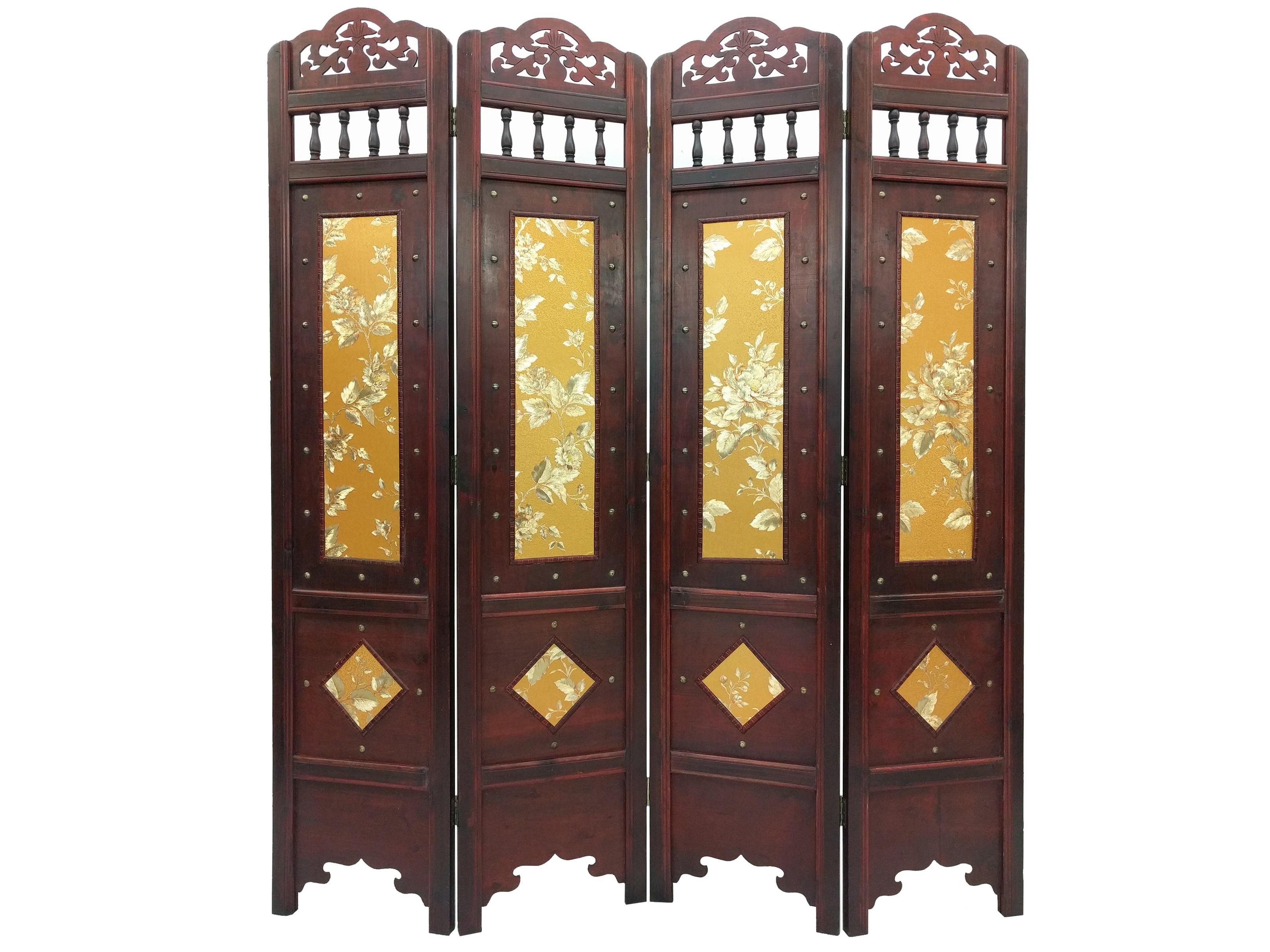 Vintage gold leaves room divider screen 4 panel wooden frame - Room divider picture frames ...