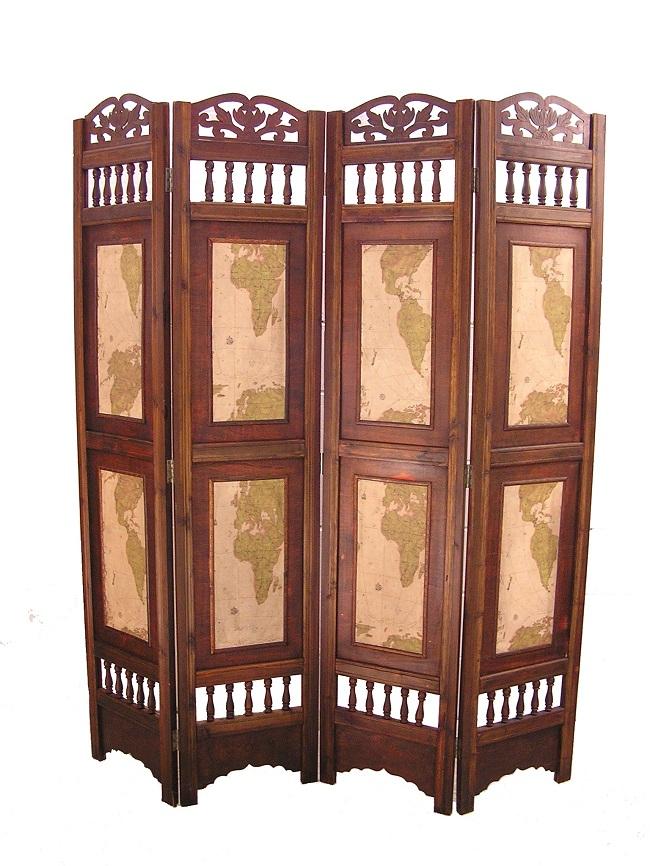 Old World Map Room Divider Screen 4 Panel Wooden Frame 797734470536