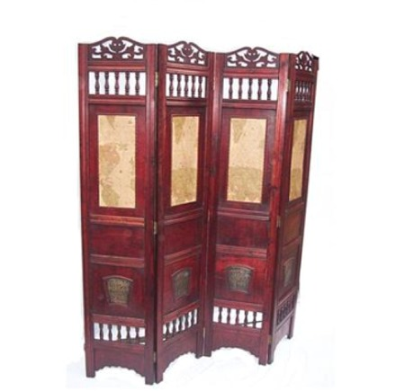 Antique World Map Room Divider
