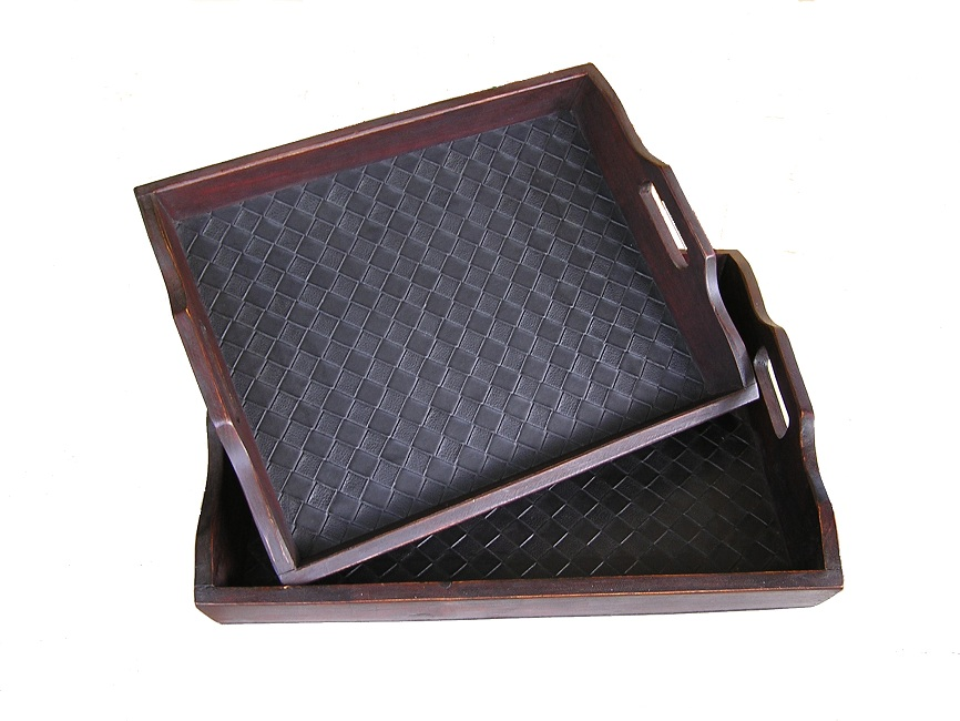 Black Leather Tray Set