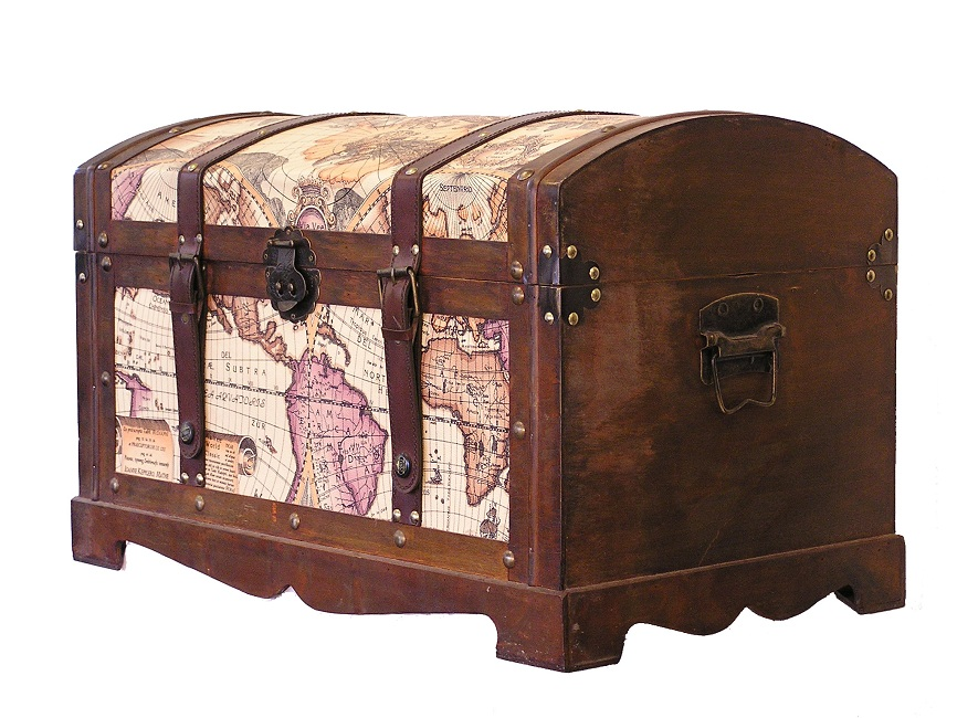 Wood Trunks And Chests ~ Victorian old world map medium wood storage trunk wooden