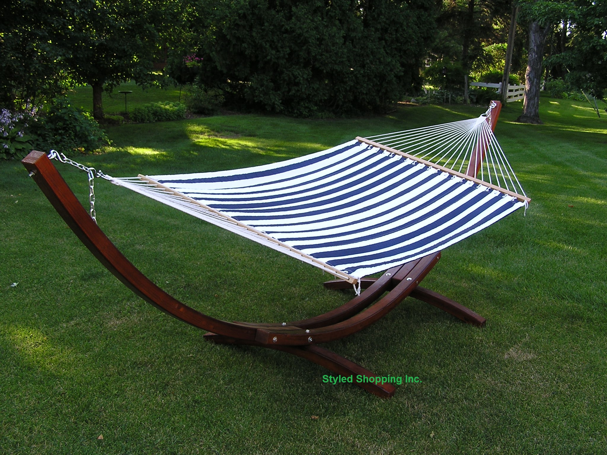 Very Impressive portraiture of Deluxe Wood Arc Two Person Adult Wood Hammock Stand   Quilted Hammock  with #2F4180 color and 2048x1536 pixels