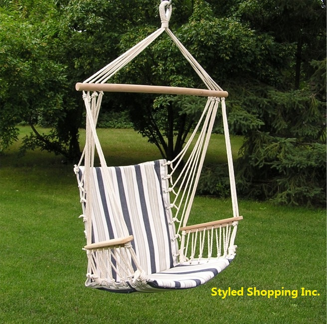 Deluxe Blue And White Hanging Hammock Sky Swing Chair