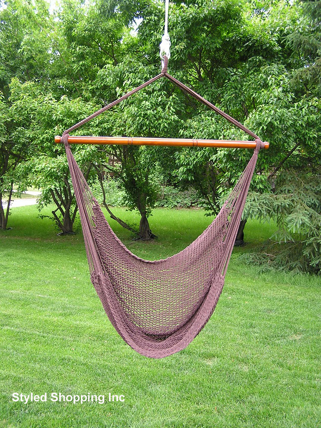 Deluxe extr large brown rope cotton hammock swing chair ebay - Choosing a hammock chair for your backyard ...