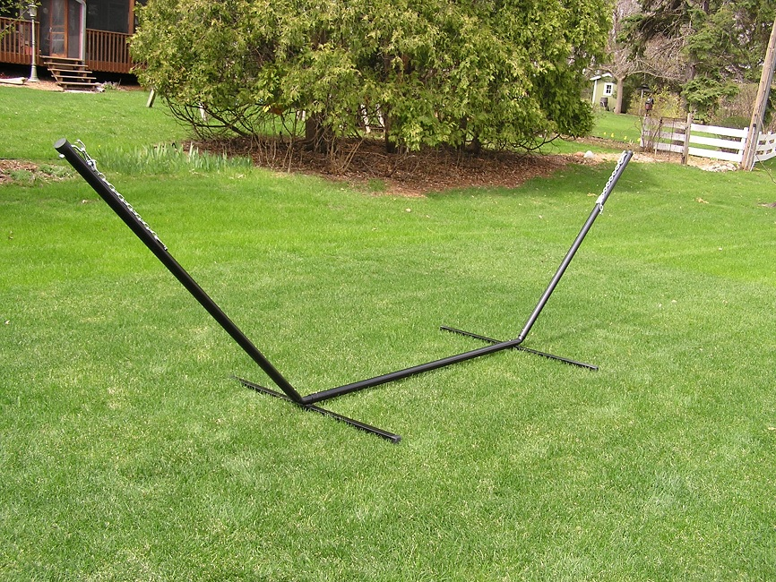 Backyard Hammock Stand :  Two Adult Size Rope Hammock with Heavy Duty Black 15 Foot Iron Stand