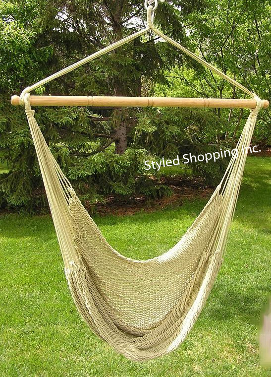 Elegant Deluxe Extra Large Hand Woven Tan Hammock Swing