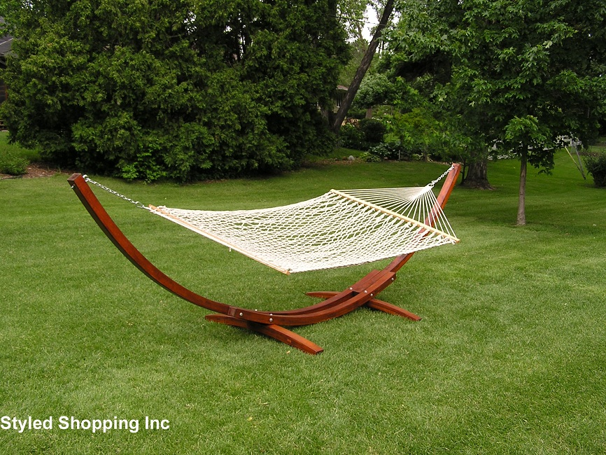Deluxe Wood Arc Two Person Adult Wood Hammock Stand Set Ebay