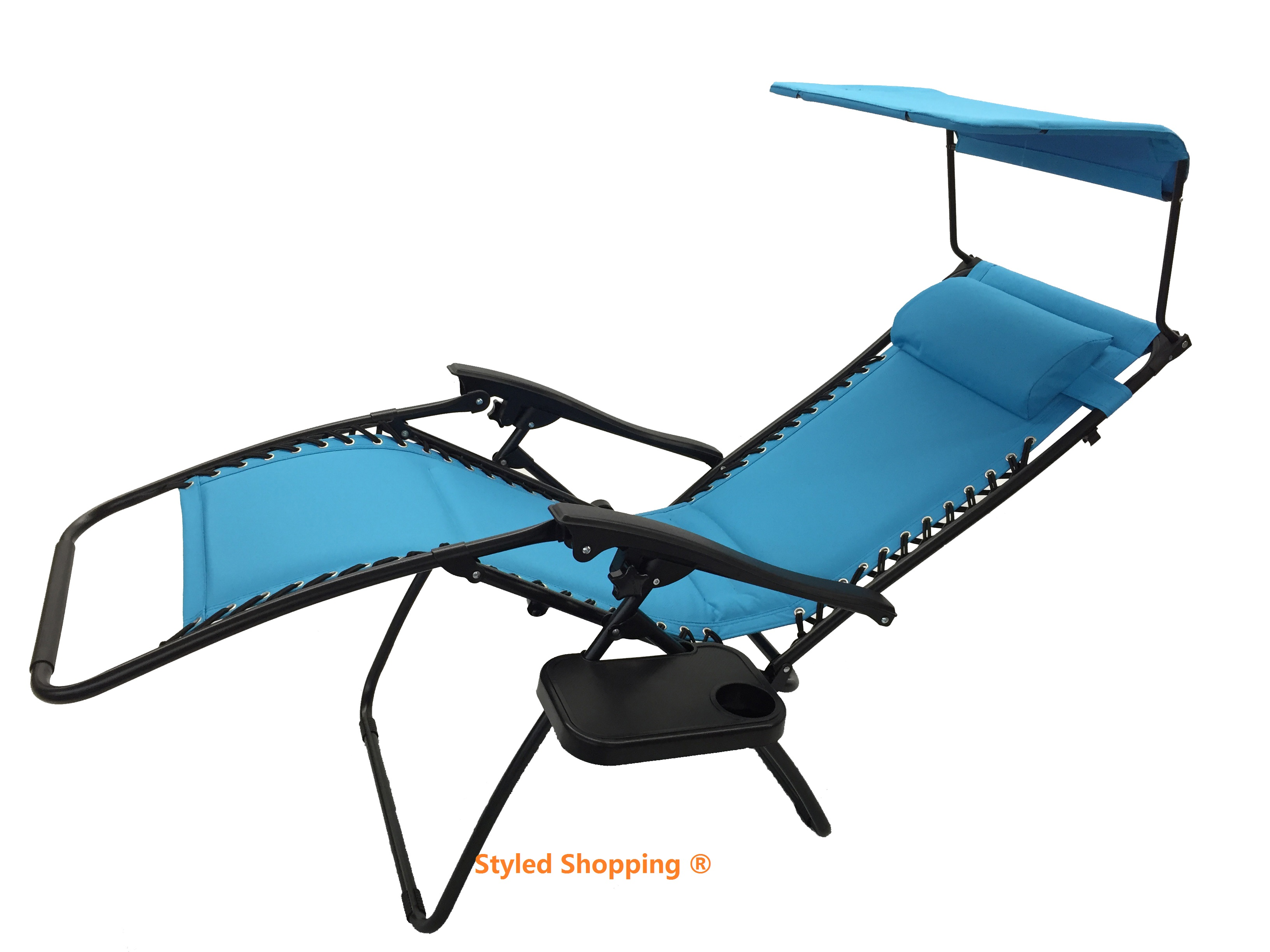 Deluxe Padded Extra Comfort Zero Gravity Chair With Canopy