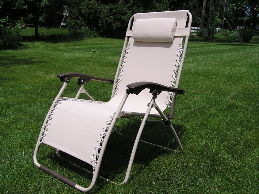 Delux Extra Wide Zero Gravity Lawn Chair Beige Patio